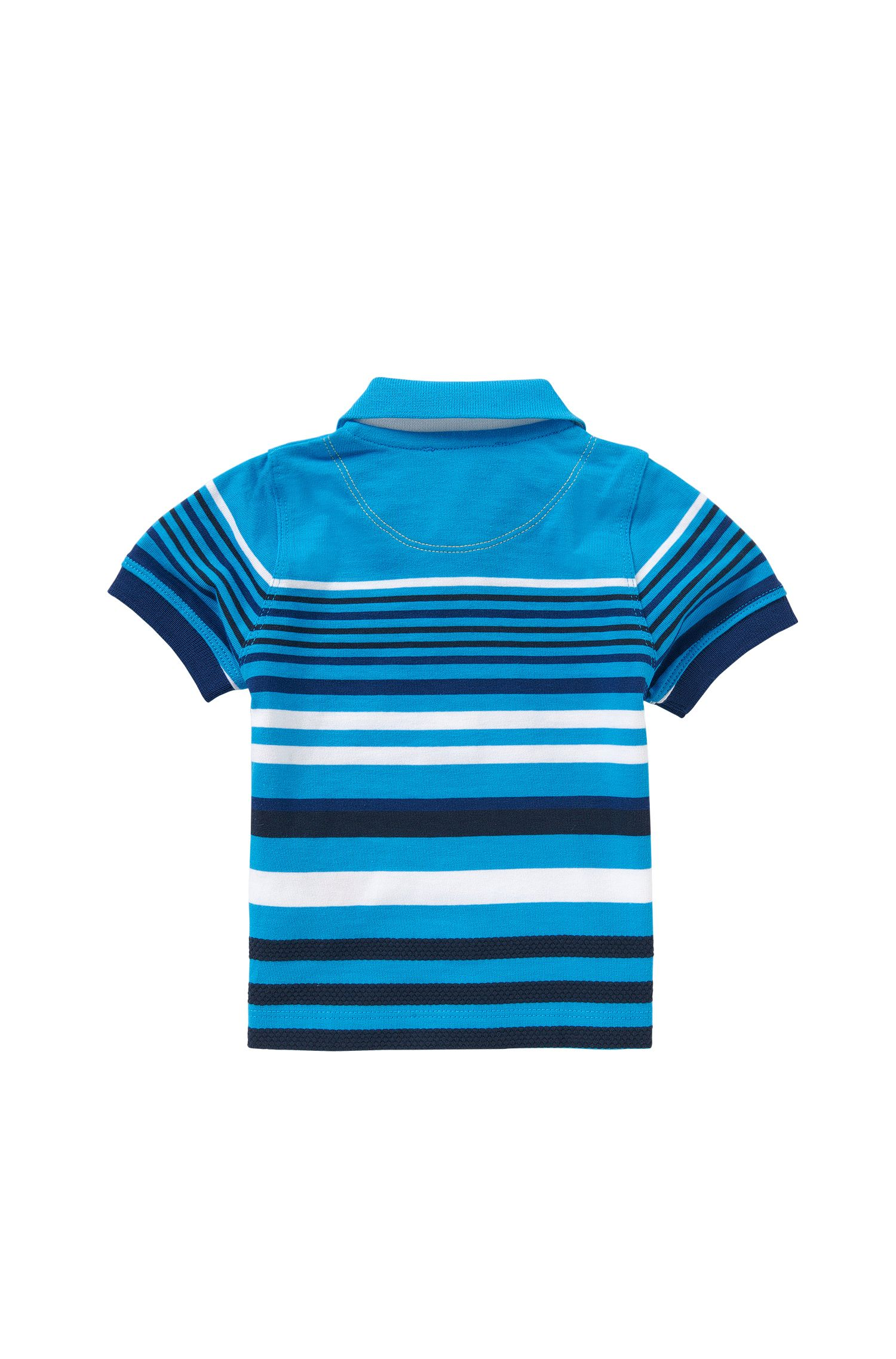 Striped newborns' polo shirt in stretch cotton with textured detailing: 'J05444'