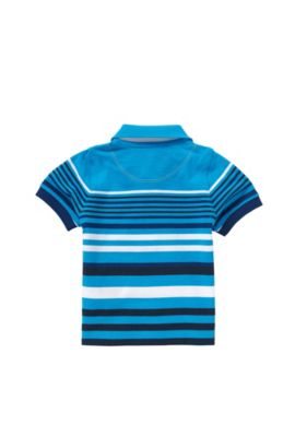Striped newborns' polo shirt in stretch cotton with textured detailing: 'J05444', Turquoise