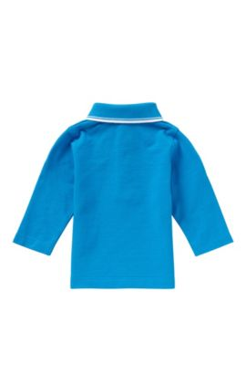 Newborns' long-sleeved polo shirt in cotton: 'J05448', Turquoise