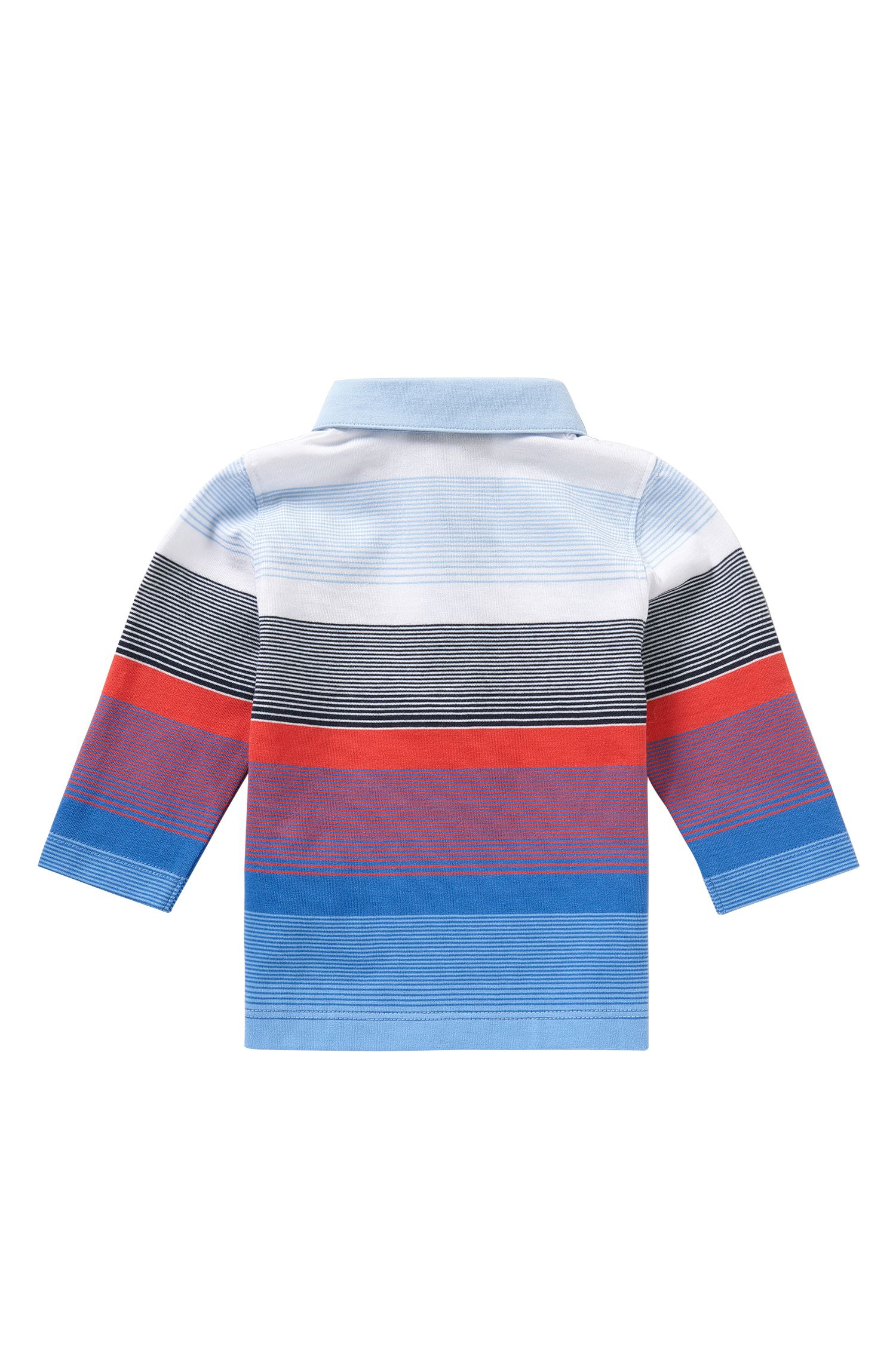 Striped newborns' long-sleeved polo shirt in cotton: 'J05449'