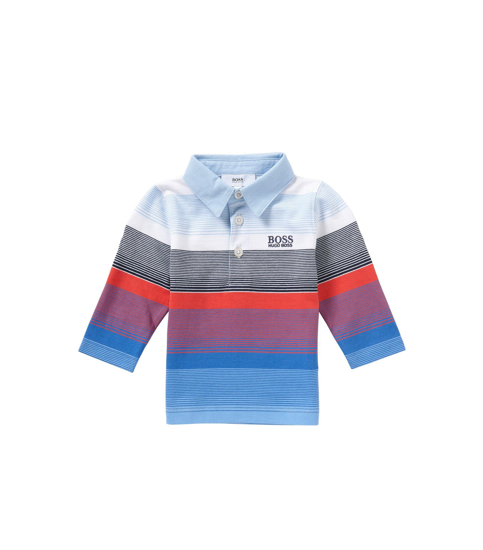 Gestreiftes Baby-Longsleeve-Poloshirt aus Baumwolle: 'J05449', Hellblau