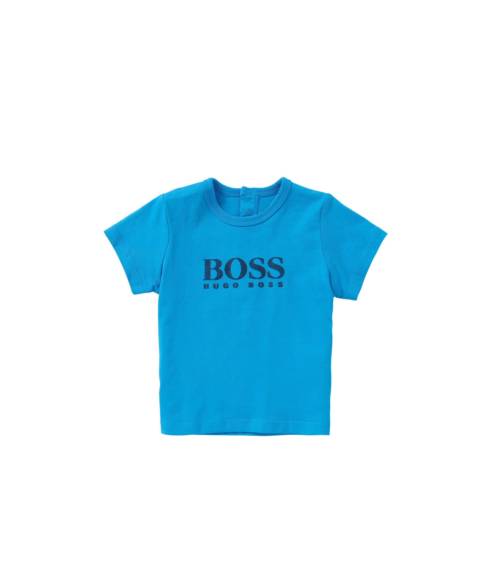 T-shirt pour bébé en coton à imprimé sur le devant: «J05453», Turquoise