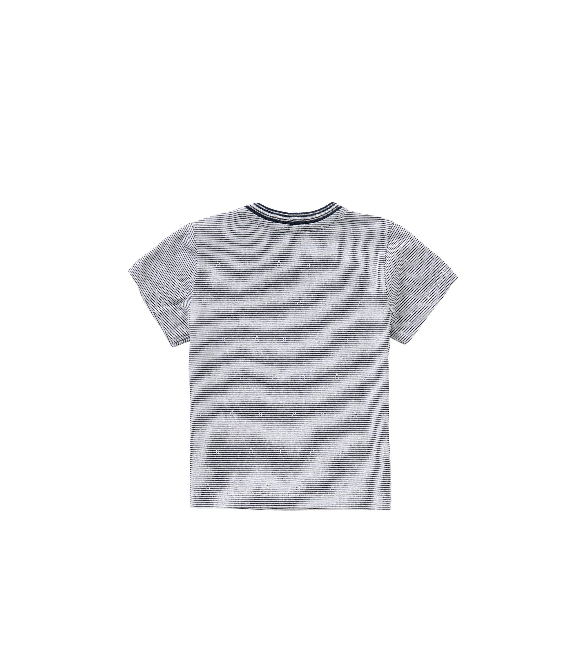 T-shirt a righe da neonato in cotone: 'J05455', Blu scuro