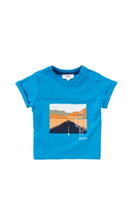 Newborn's t-shirt in stretch cotton with piqué insert: 'J05457', Turquoise