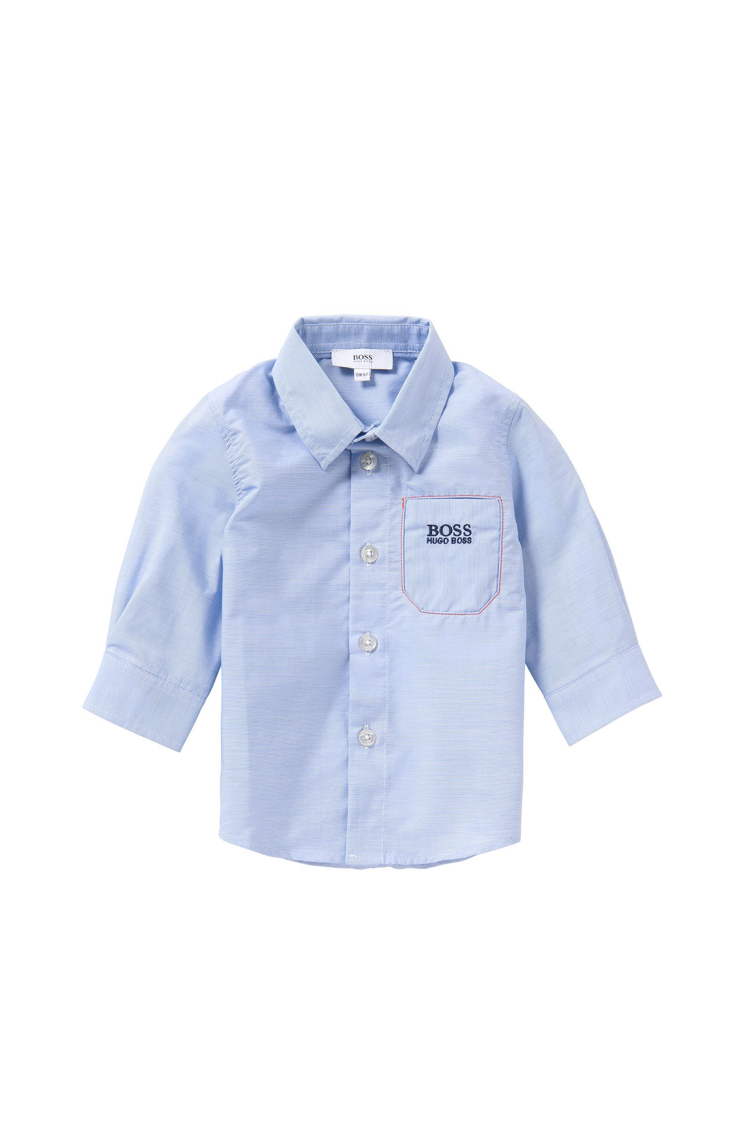 Finely striped newborn's shirt in cotton: 'J05466'