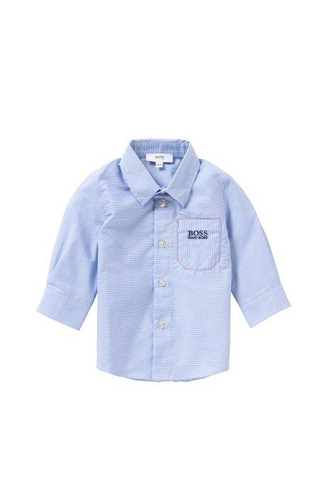 Fein gestreiftes Baby-Hemd aus Baumwolle: 'J05466', Hellblau