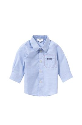 Finely striped newborn's shirt in cotton: 'J05466', Light Blue