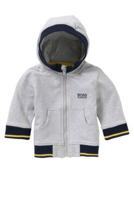 Newborn's hooded jacket in stretch cotton: 'J05468', Light Grey