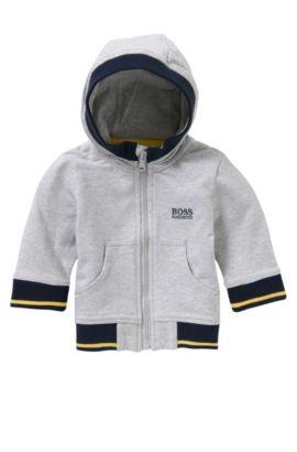 Blouson à capuche pour bébé en coton extensible: «J05468», Gris chiné