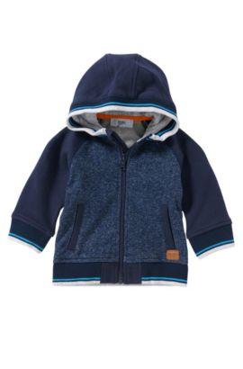 Giubbotto in felpa con cappuccio da neonato in cotone: 'J05469', Blu scuro