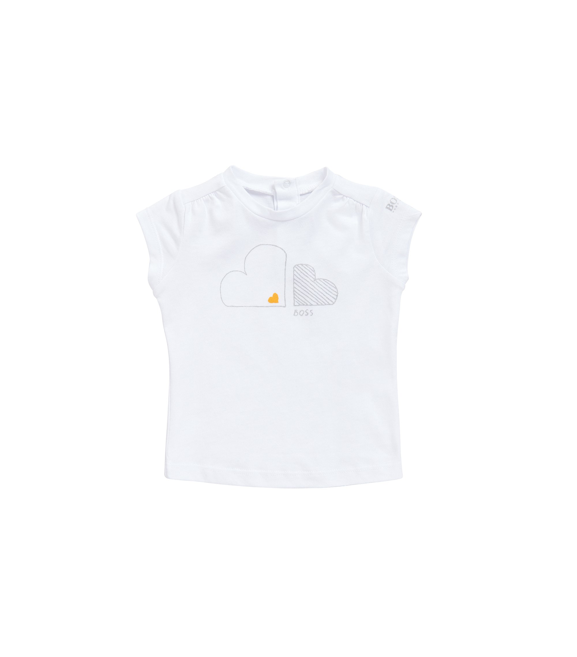 Newborn's T-shirt in a cotton-modal blend with a glitter print: 'J05474', Patterned