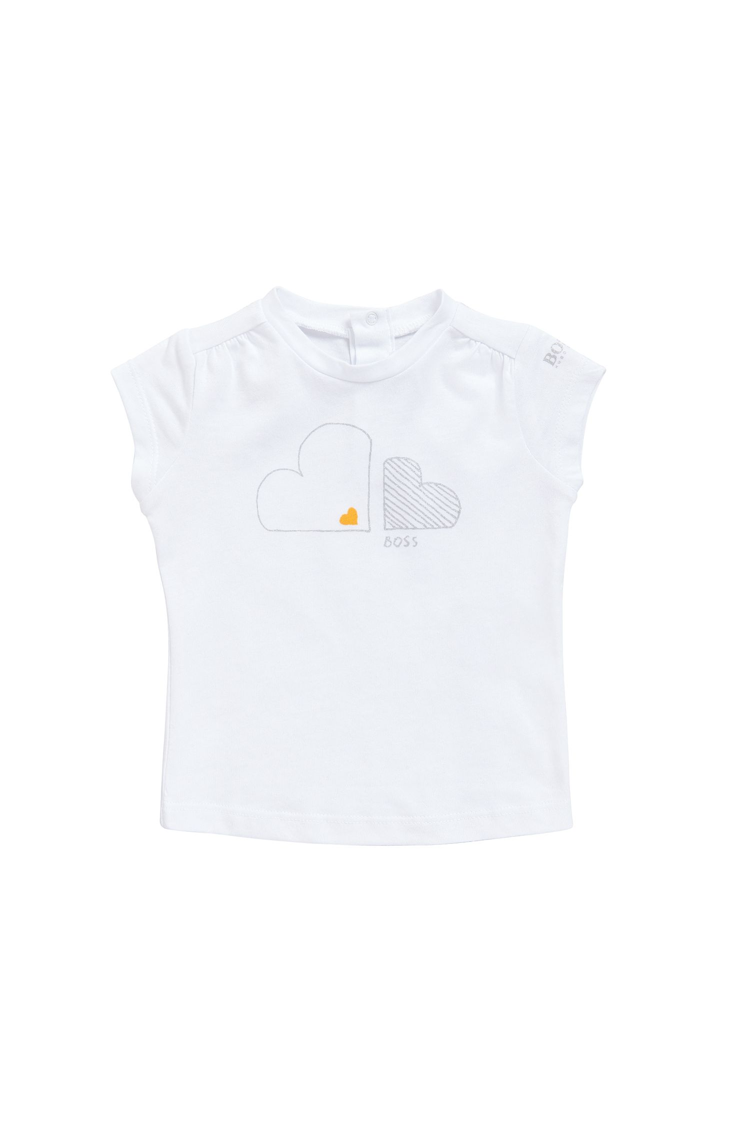 Newborn's T-shirt in a cotton-modal blend with a glitter print: 'J05474'