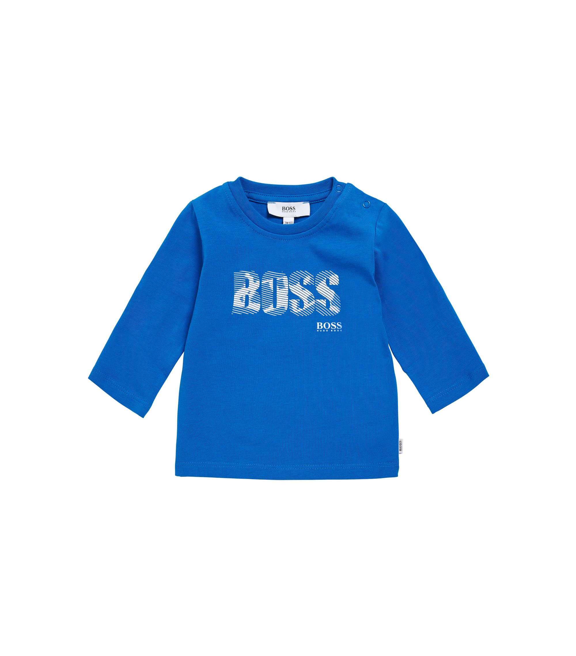 T-shirt à manches longues pour enfant en coton imprimé: «J05502», Bleu