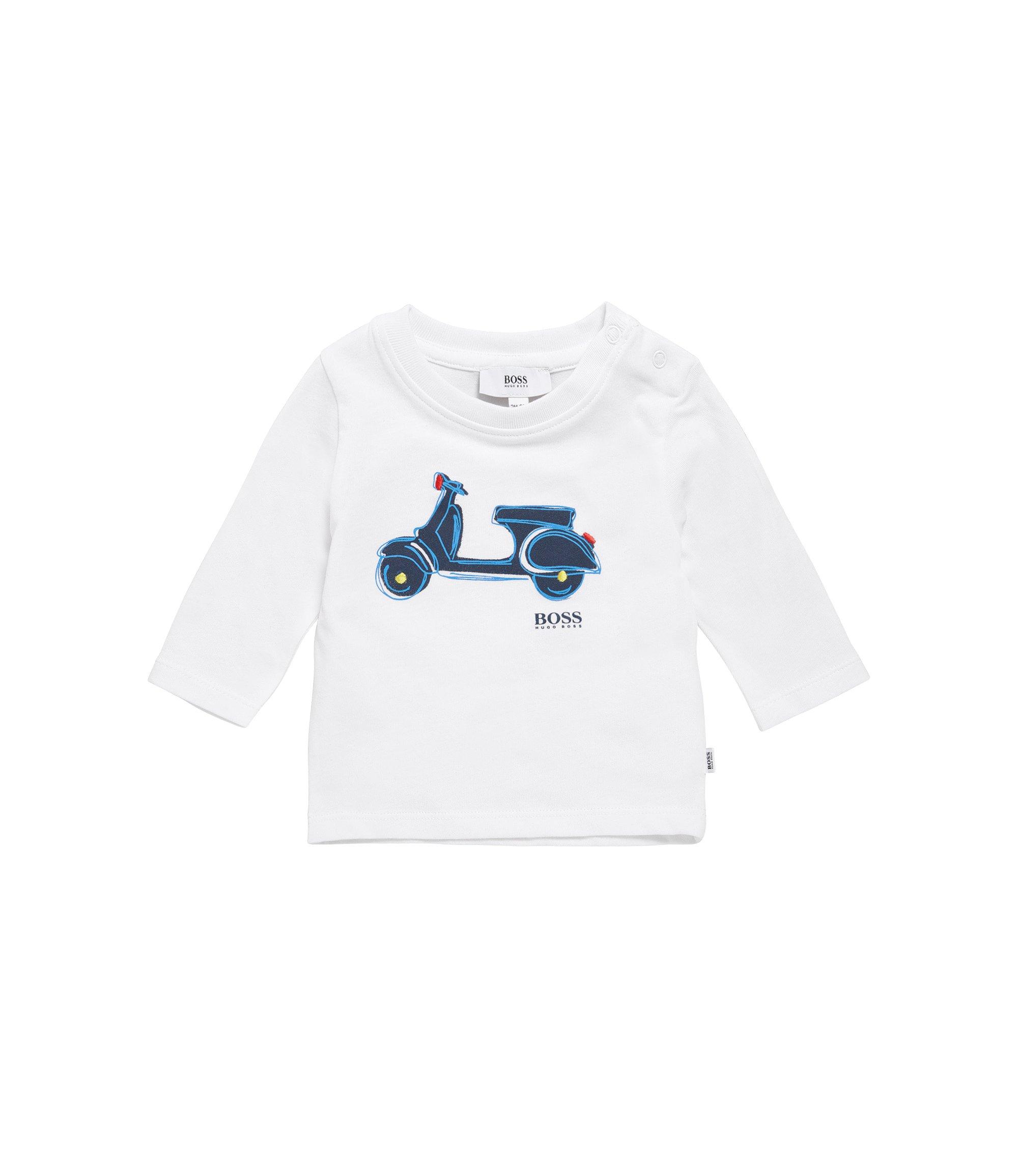 Kids-Longsleeve aus Baumwolle mit Print: 'J05507', Weiß