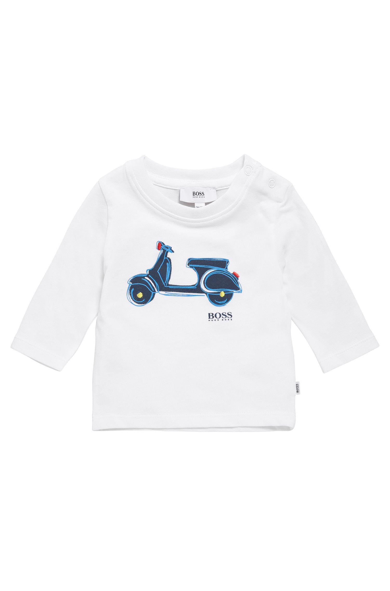 T-shirt imprimé à manches longues pour enfant en coton: «J05507»