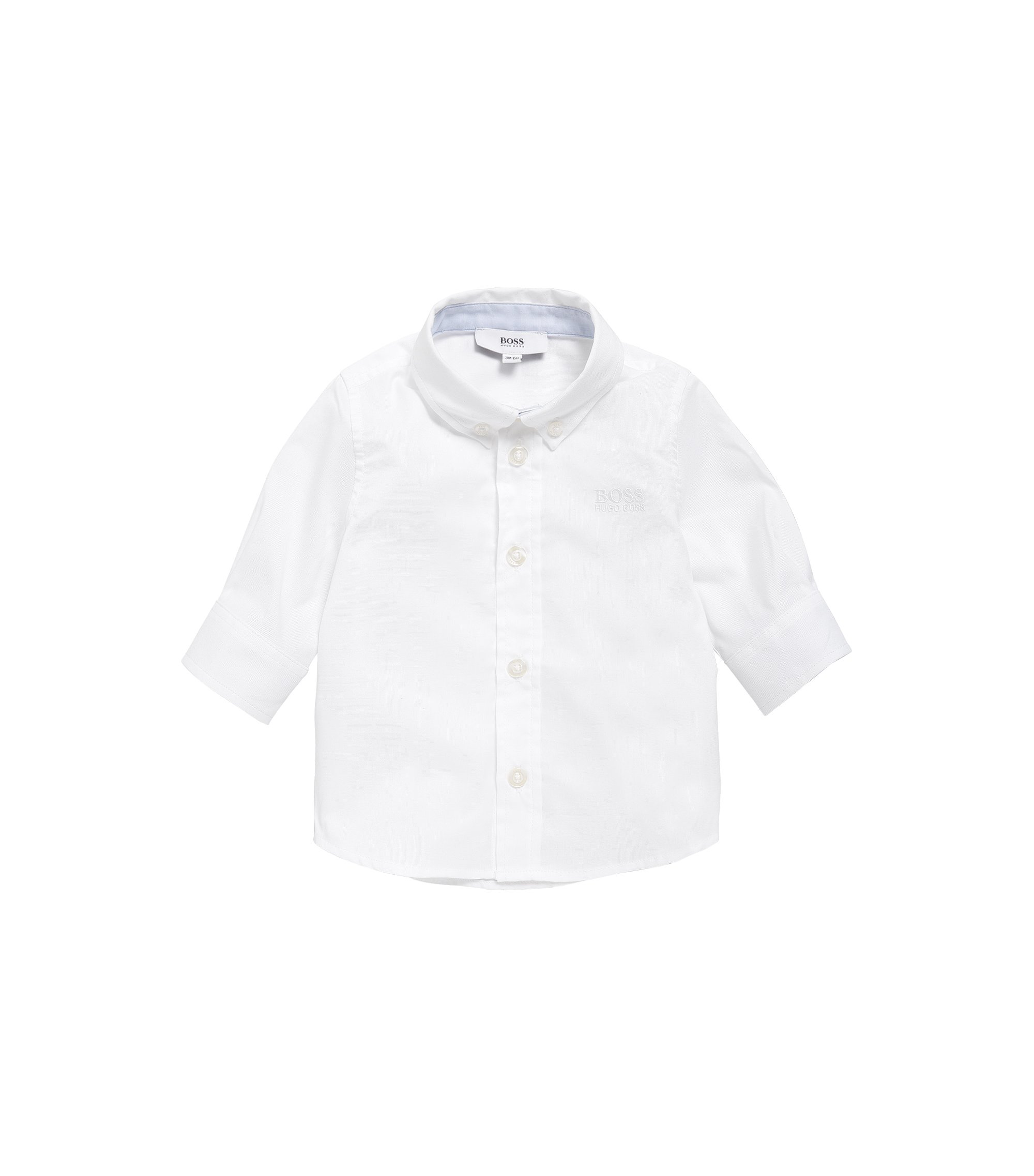 Kids' shirt in cotton with button-down collar: 'J05508', White