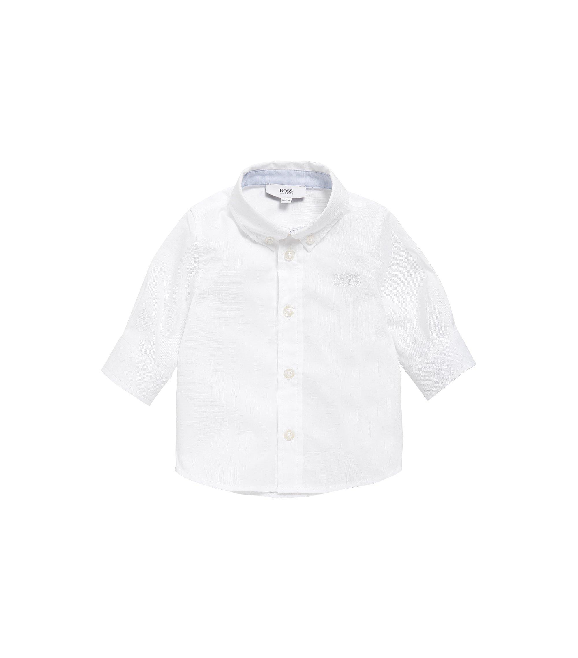 Camisa para niño en algodón con cuello abotonado: 'J05508', Blanco