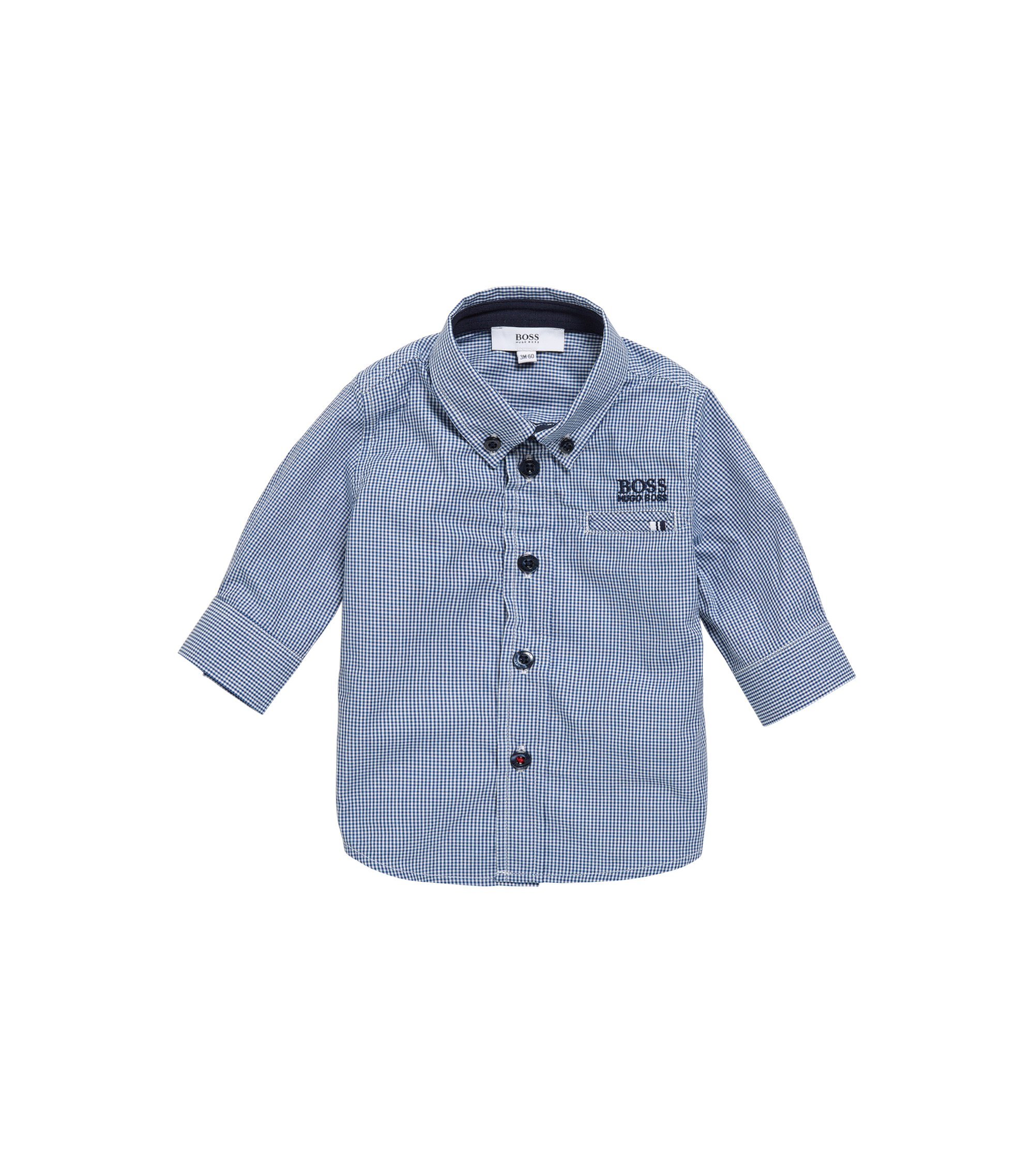 Kids' cotton shirt in a check design: 'J05509', Dark Blue