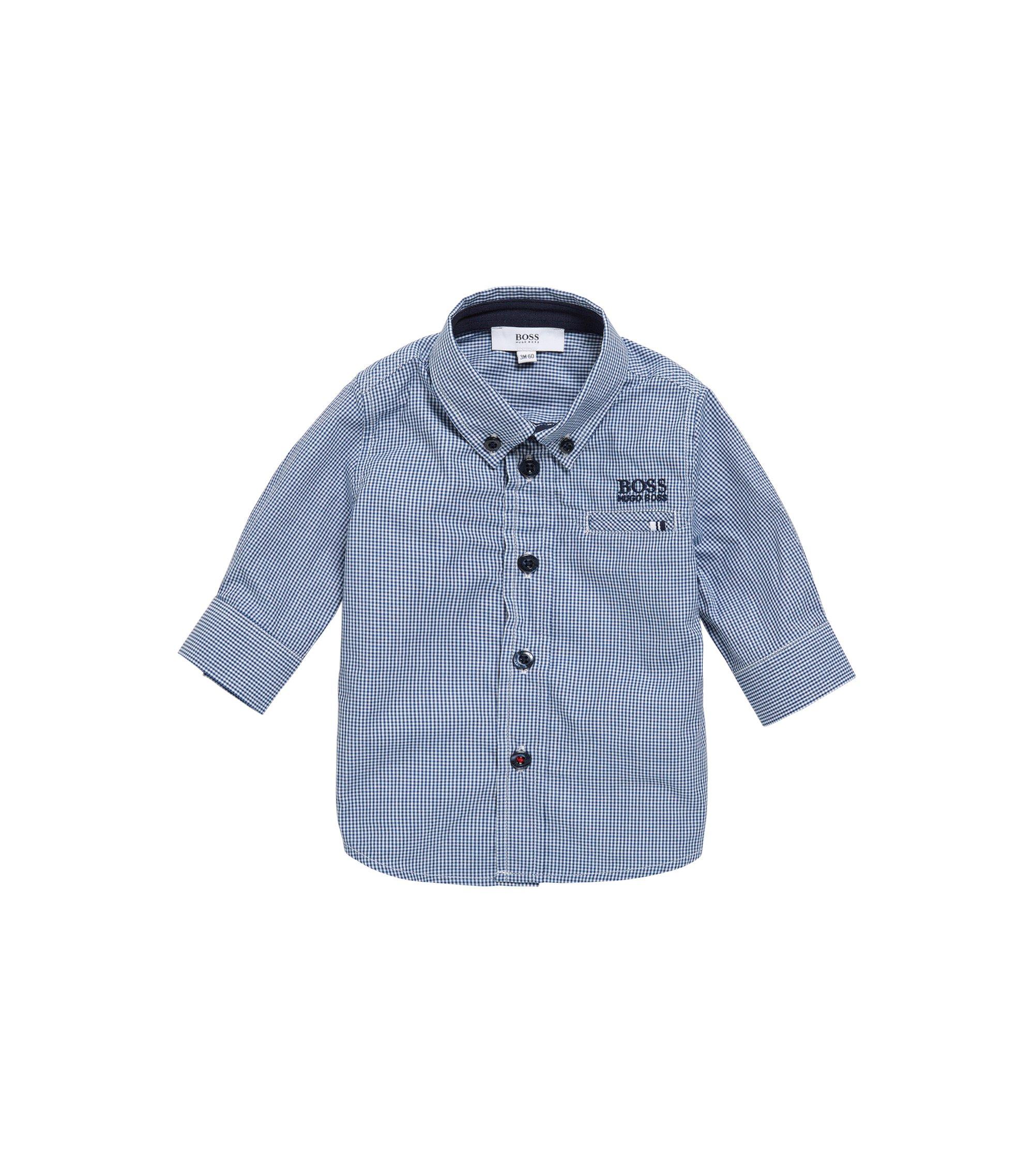 Camisa para niños en algodón con diseño a cuadros: 'J05509', Azul oscuro