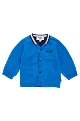 Gebreid kindervest van katoen met raglanmouwen: 'J06613', Blauw