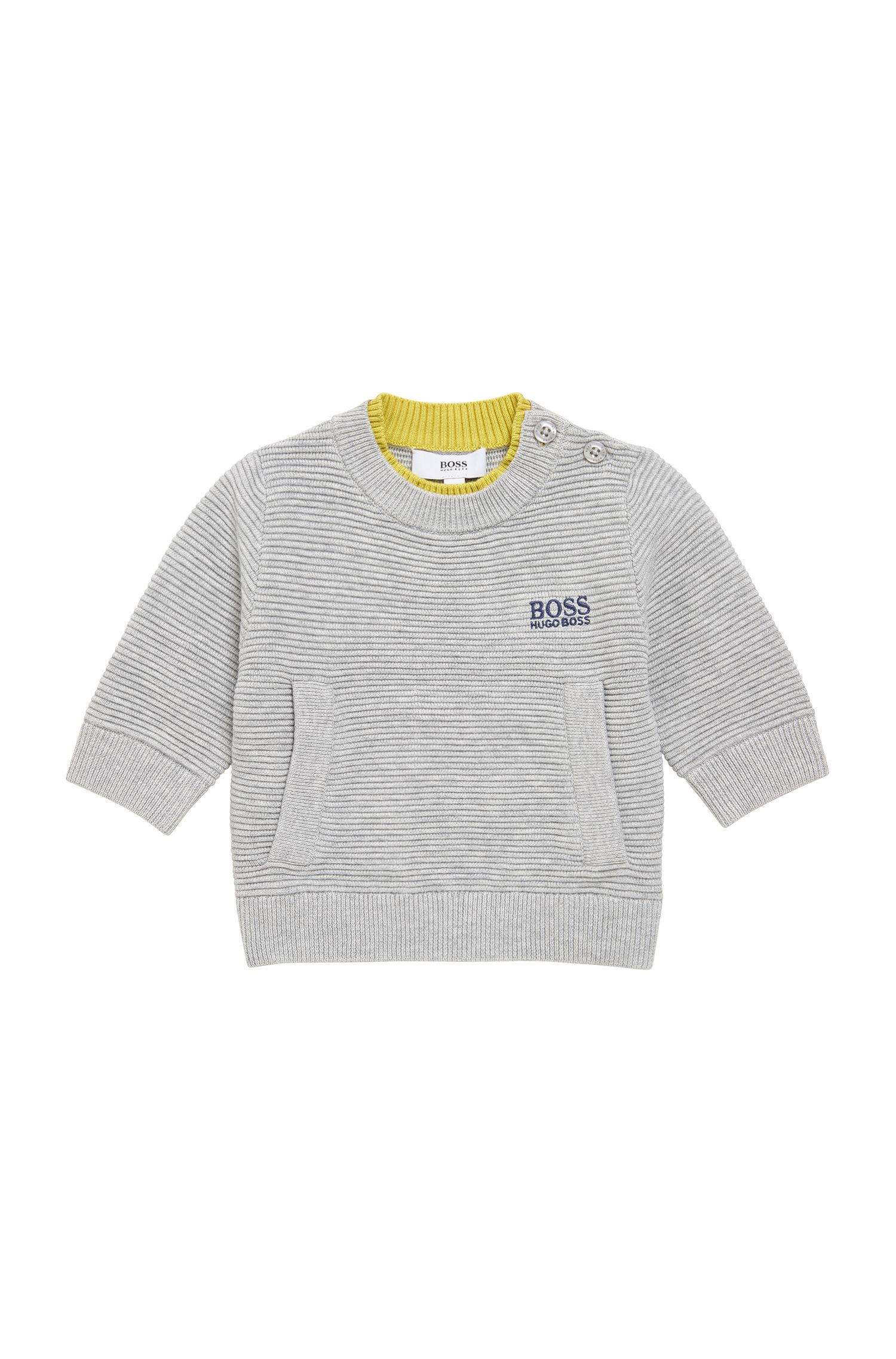 Kids' sweater in textured stretch cotton blend: 'J00515'