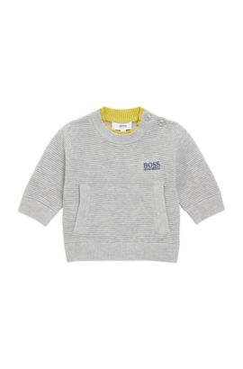 Kids' sweater in textured stretch cotton blend: 'J00515', Light Grey