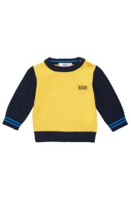 Kids' sweater in cotton in a multicoloured design: 'J05517', Gold