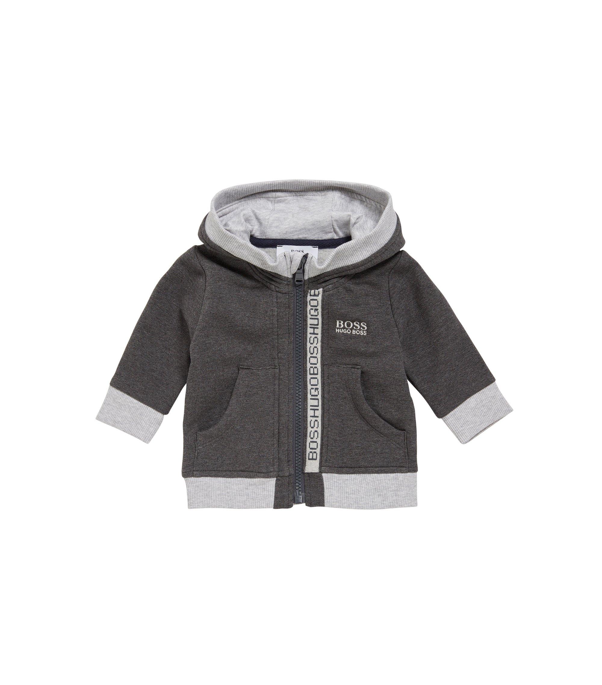 Kids' hooded jacket in stretch cotton blend: 'J05518', Dark Grey