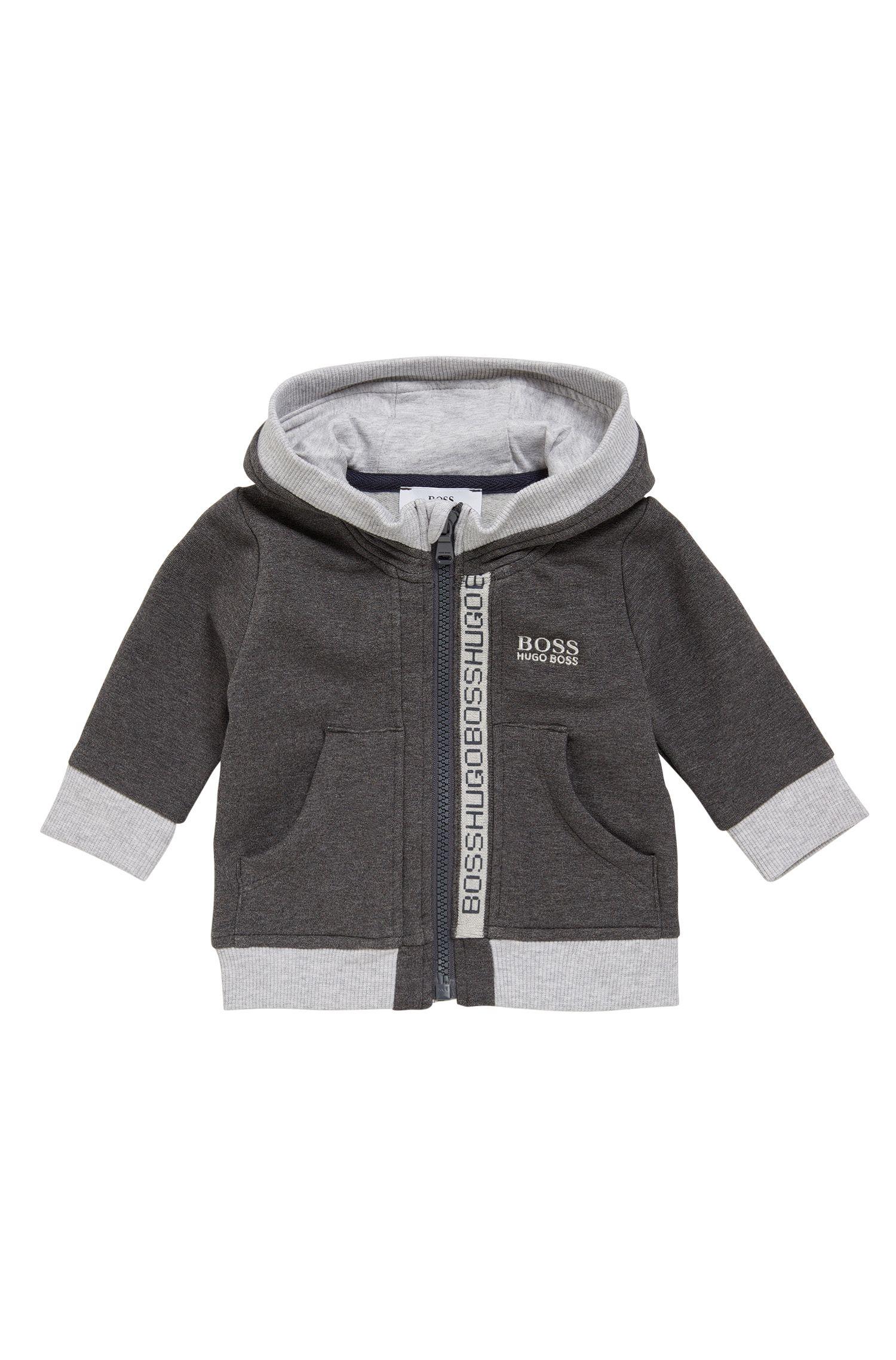 Blouson pour enfant en coton mélangé extensible à capuche: «J05518»