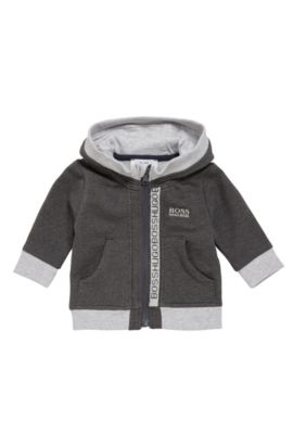 Kids' hooded jacket in stretch cotton blend: 'J05518', Dark Grey