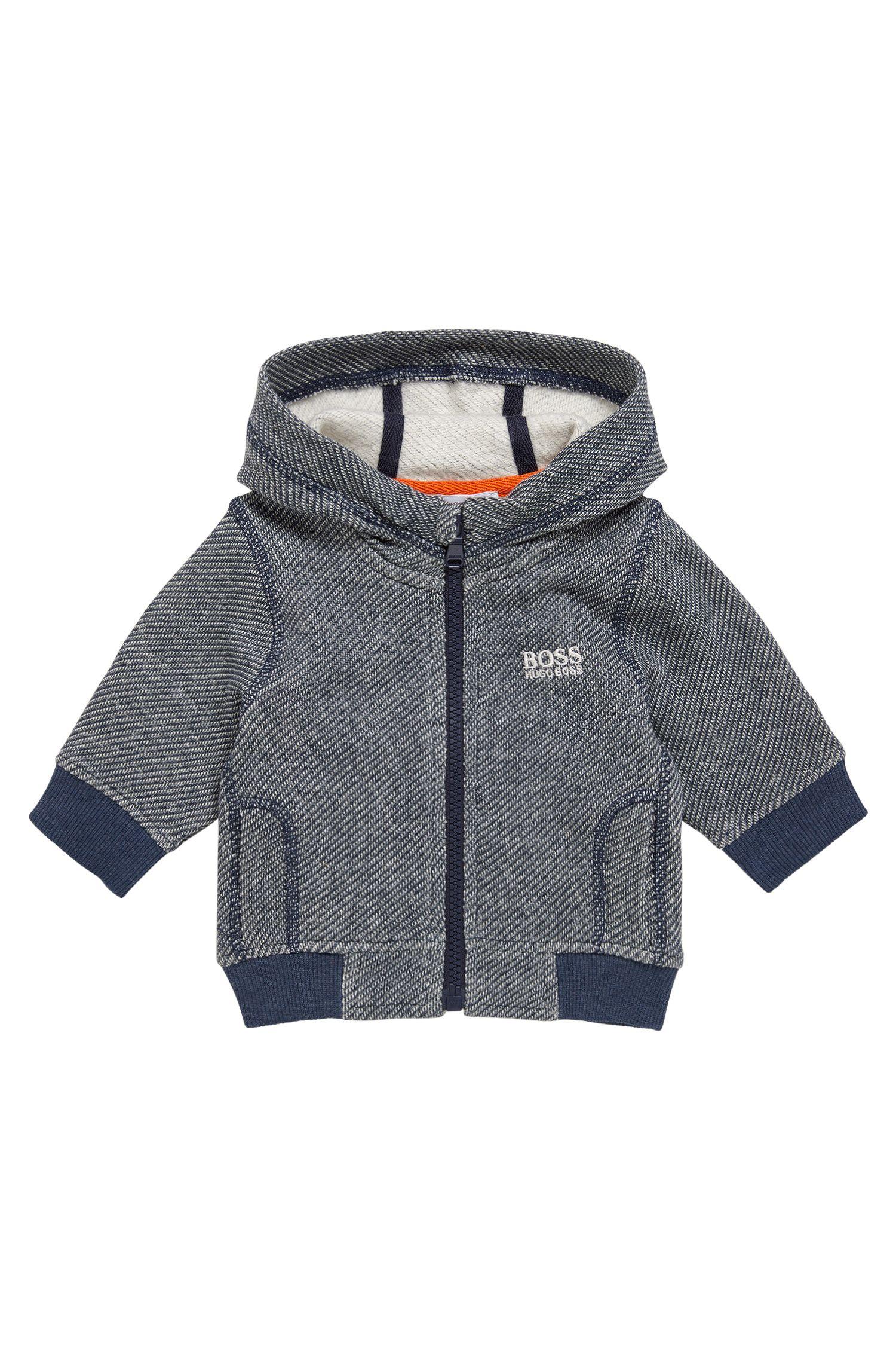 Blouson sweat pour bébé à motif en coton mélangé extensible: «J05519»