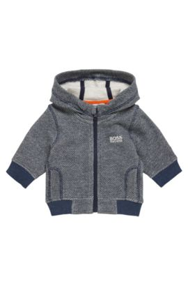 Patterned kids' sweat jacket in stretch cotton blend: 'J05519', Dark Blue