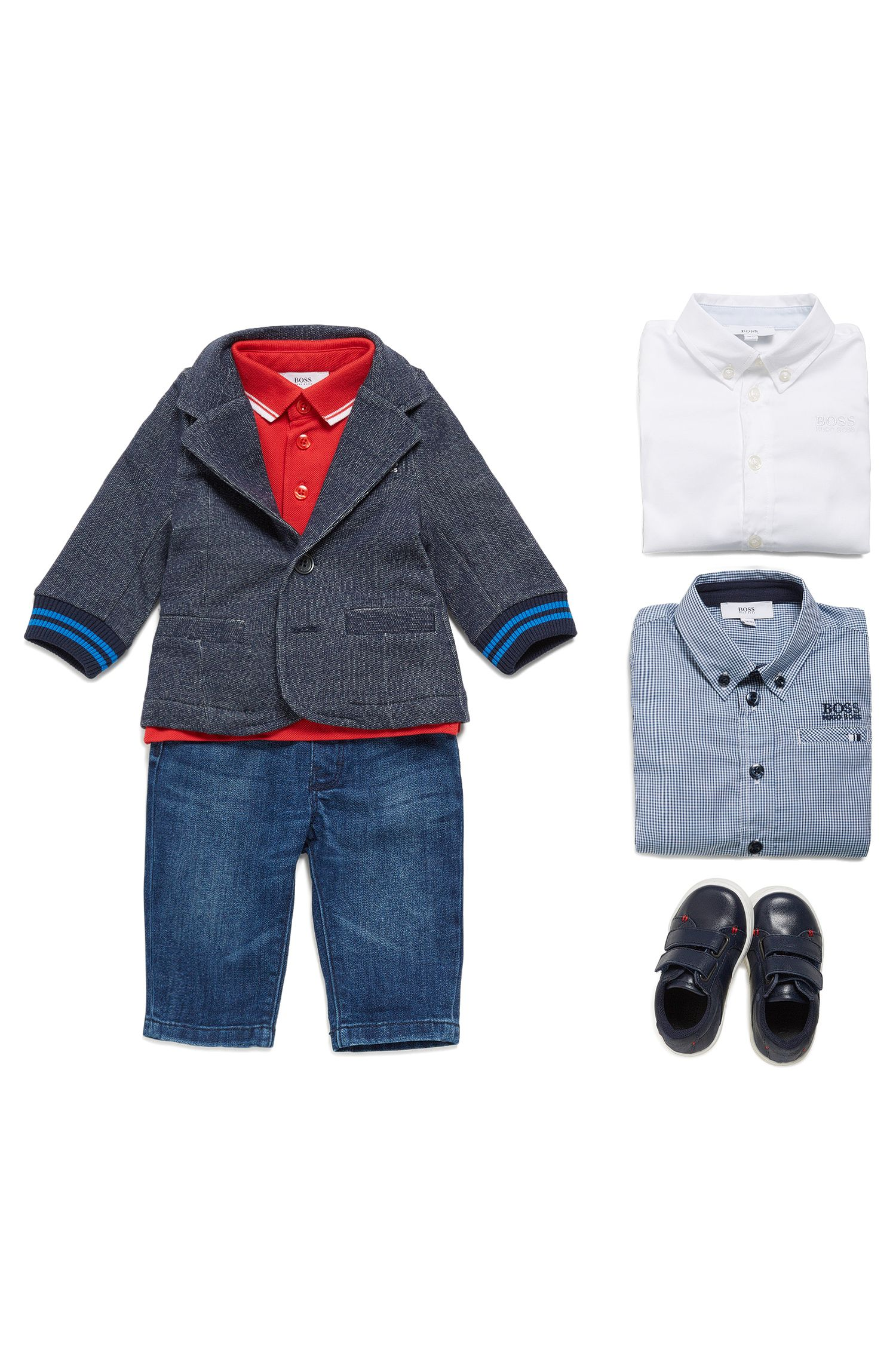 Kids' jacket in a stretch cotton blend that looks like denim: 'J05520'