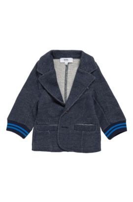Kids' jacket in a stretch cotton blend that looks like denim: 'J05520', Dark Blue