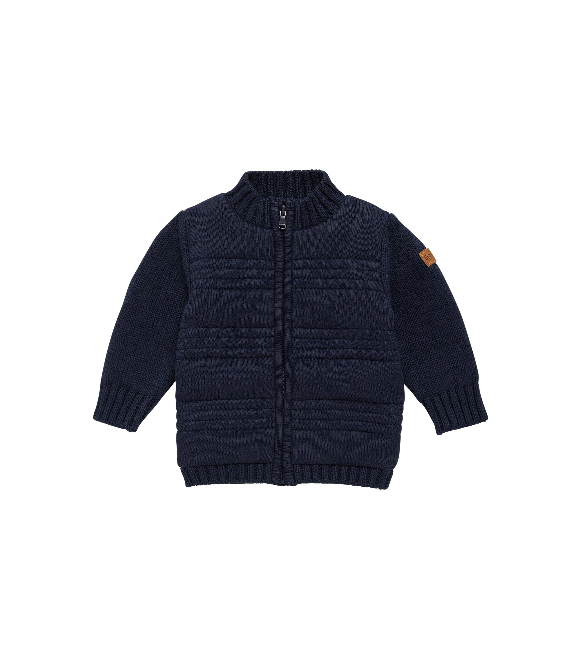 Kids' cotton cardigan with lined front: 'J05522', Dark Blue