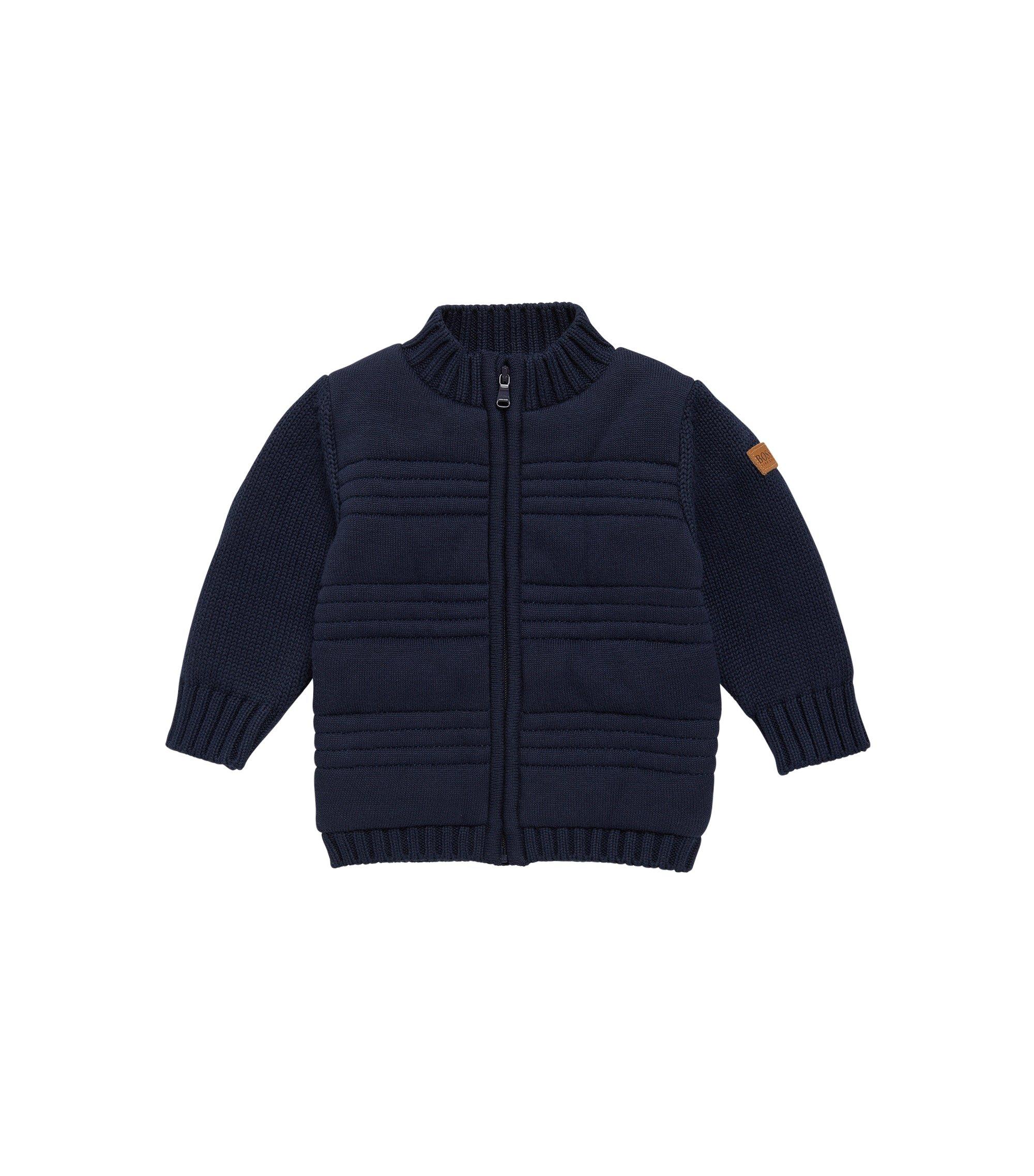 Veste en maille pour enfant en coton, doublée sur le devant: «J05522», Bleu foncé