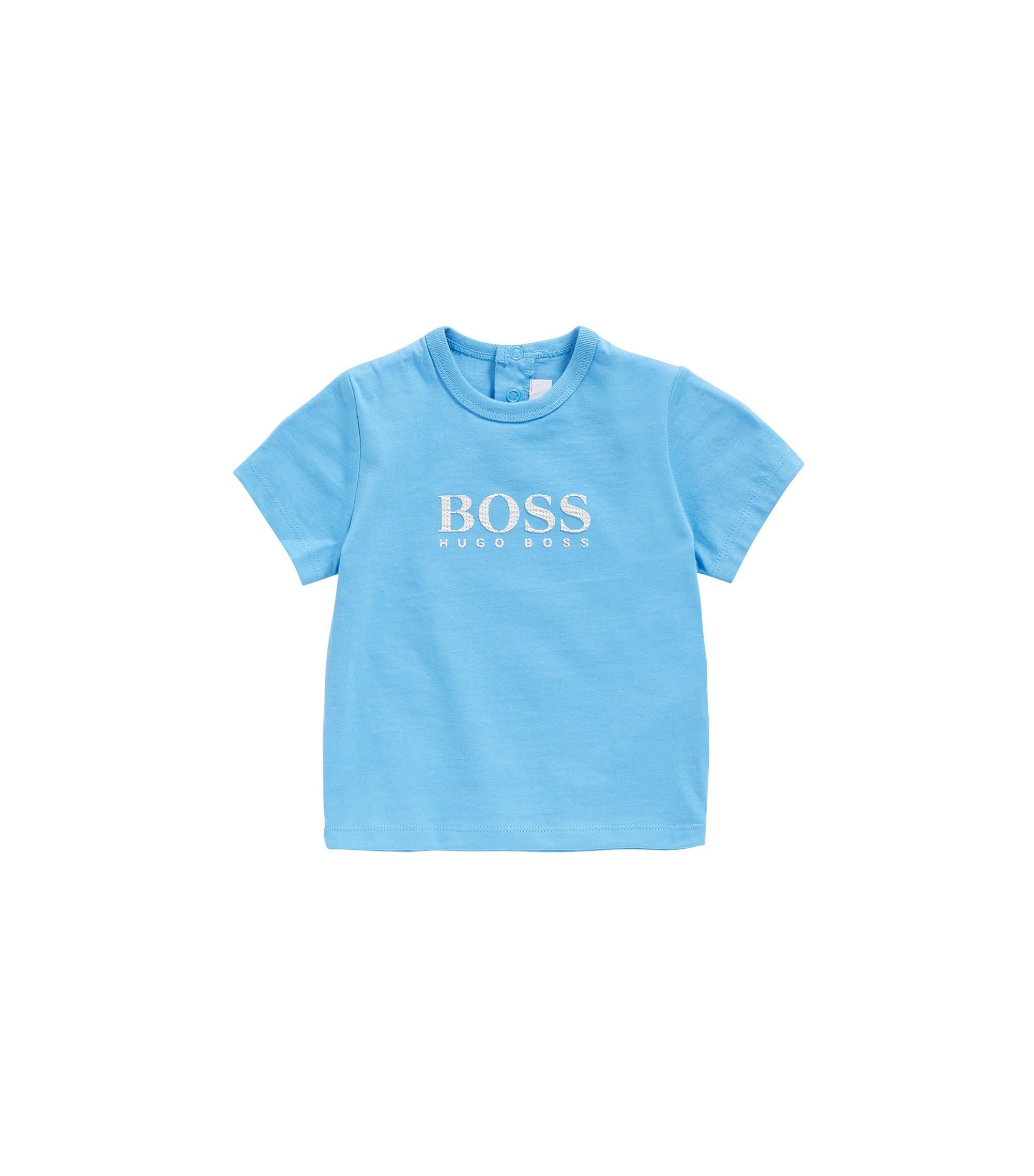 T-shirt pour bébé en coton à imprimé gommé: «J05525», Turquoise