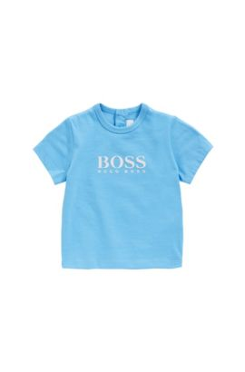 Newborn shirt in cotton with rubberised print: 'J05525', Turquoise