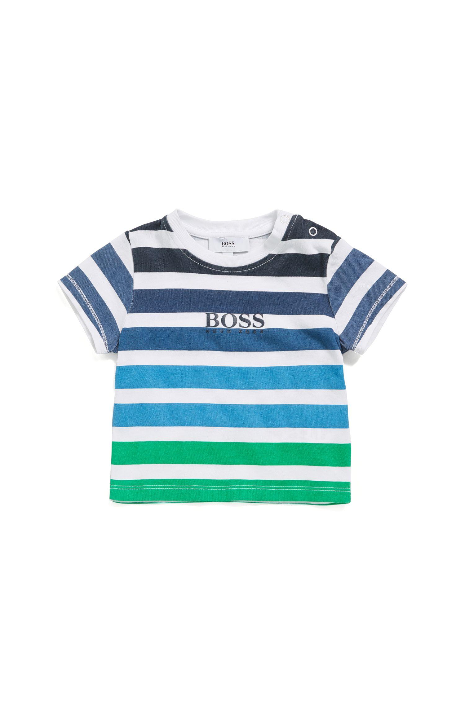 Maglietta da neonato in misto cotone elasticizzato con motivo a righe: 'J05532'