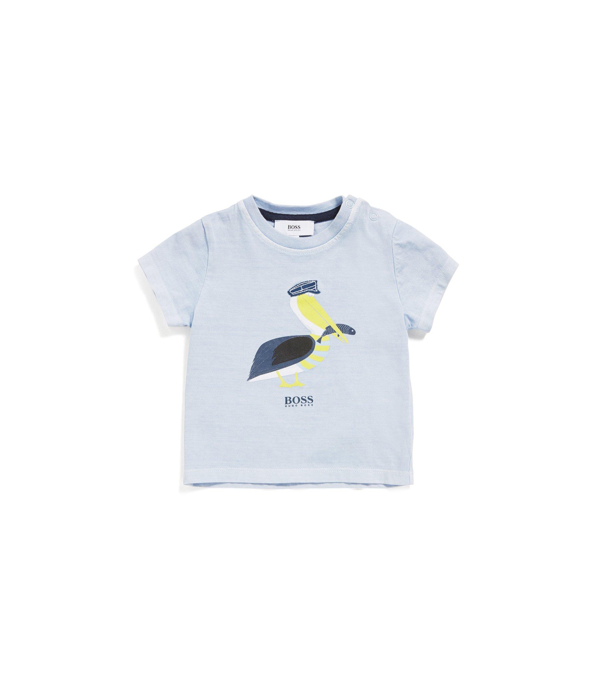 Newborns' shirt in stretch cotton blend with print: 'J05533', Light Blue