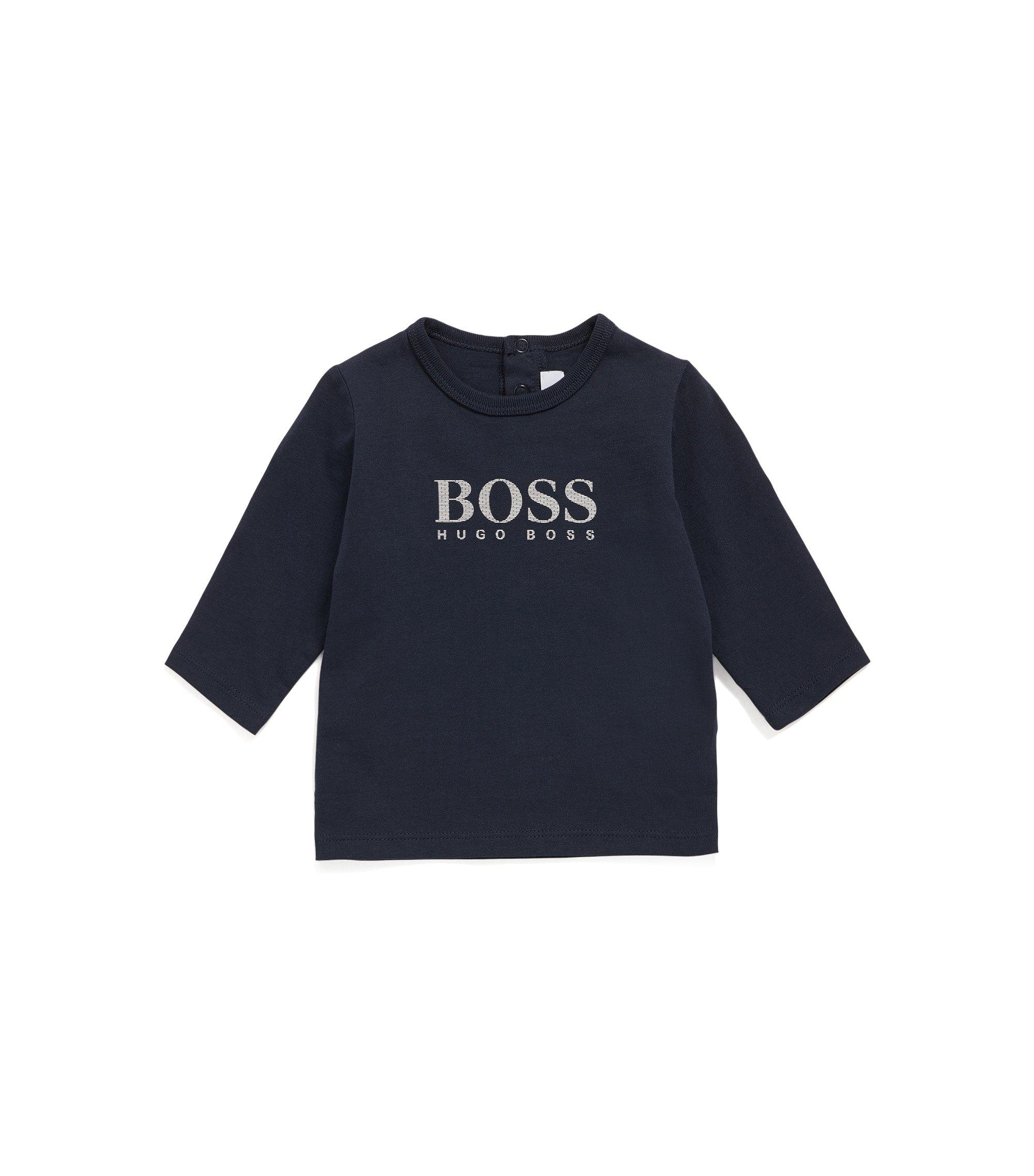T-shirt à manches longues pour bébé en coton mélangé extensible, avec imprimé: «J05534», Bleu foncé