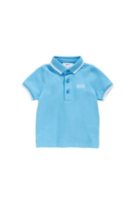 Baby polo shirt in cotton with contrasting details: 'J05539', Turquoise