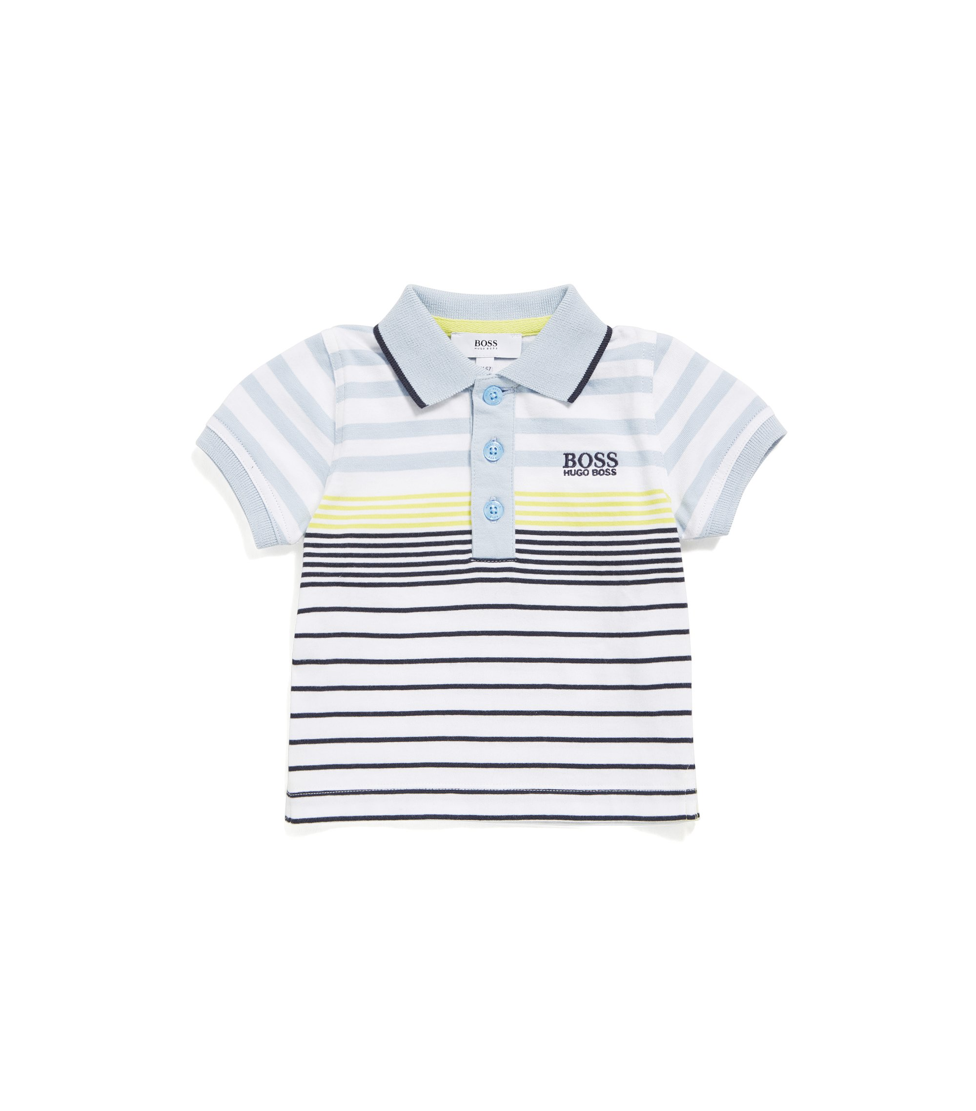 Newborns' cotton polo shirt in a striped pattern: 'J05543', Patterned