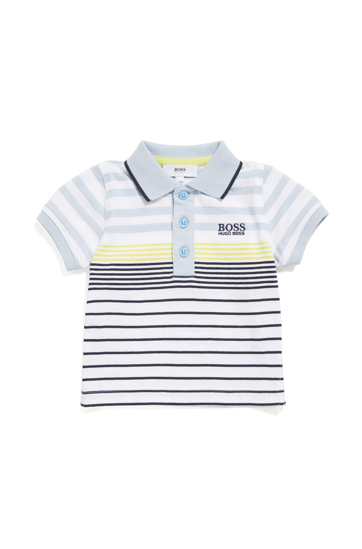 Newborns' cotton polo shirt in a striped pattern: 'J05543'