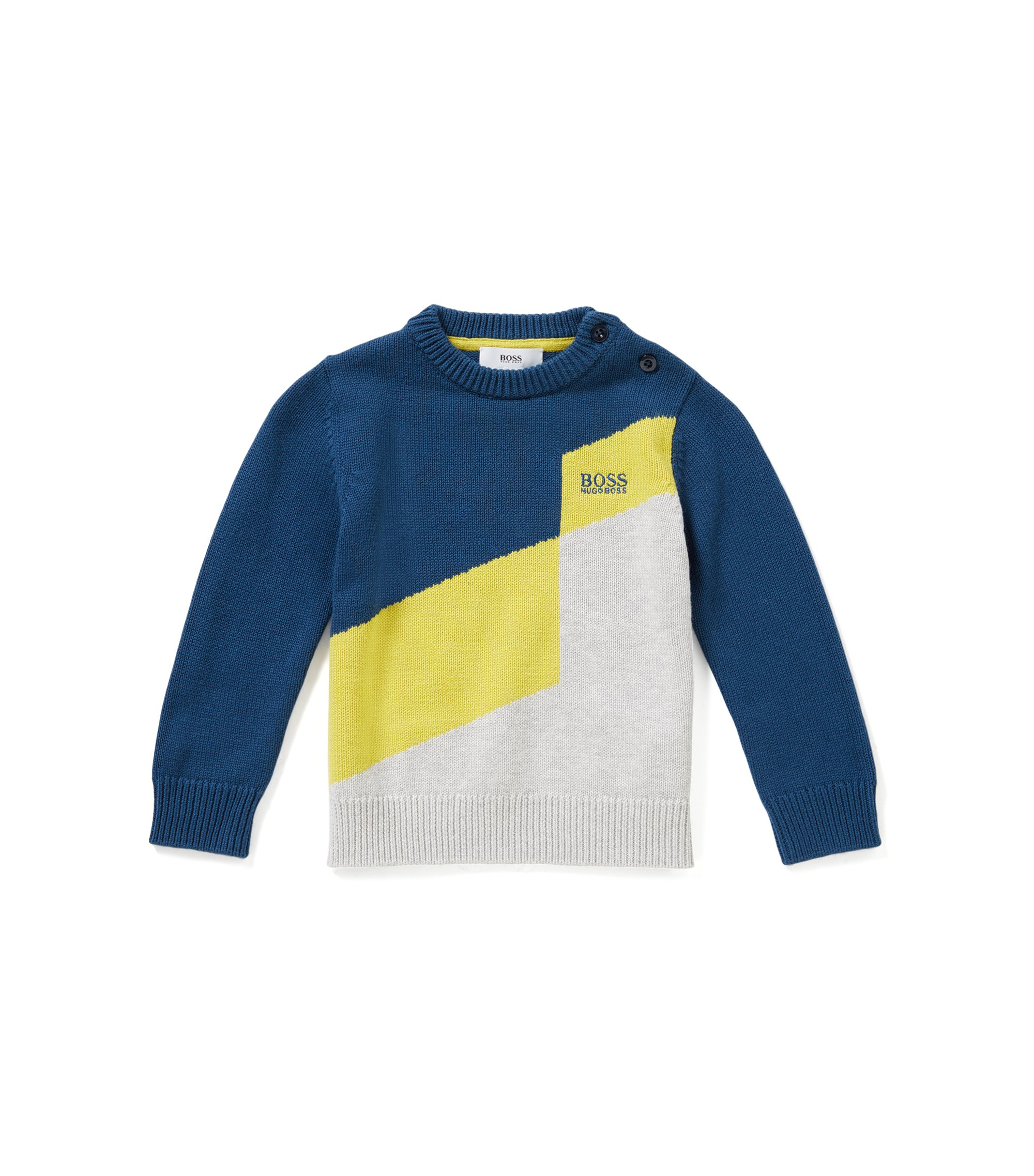 Regular-Fit Kids-Pullover aus Baumwoll-Mix mit Wolle, Gemustert