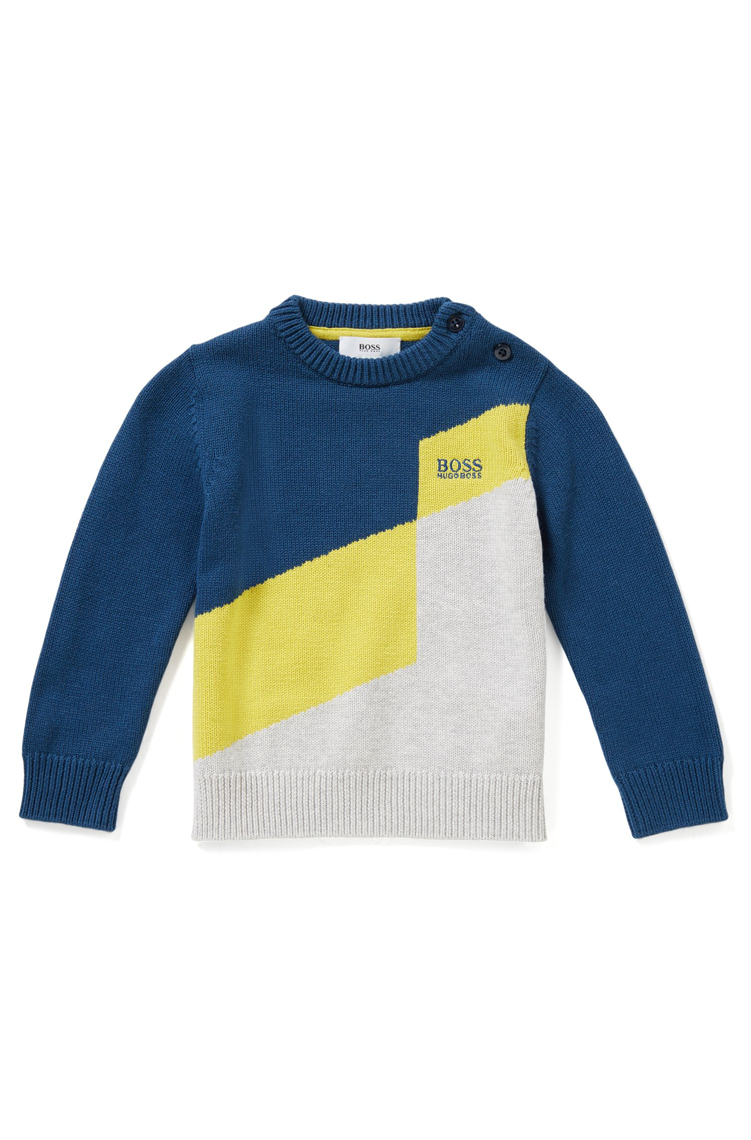 Regular-Fit Kids-Pullover aus Baumwoll-Mix mit Wolle