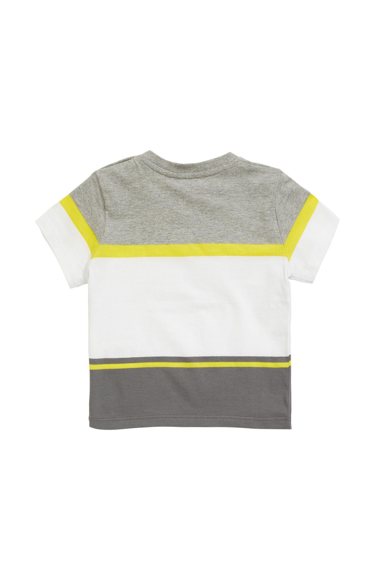 Camiseta para niños en punto de mezcla de algodón con rayas en contraste