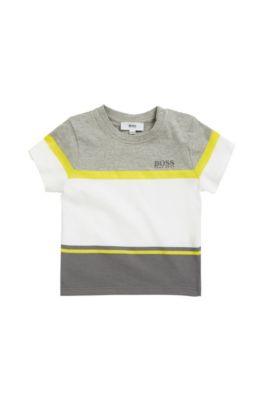 T-shirt pour enfant en jersey de coton mélangé à rayures contrastantes, Gris chiné