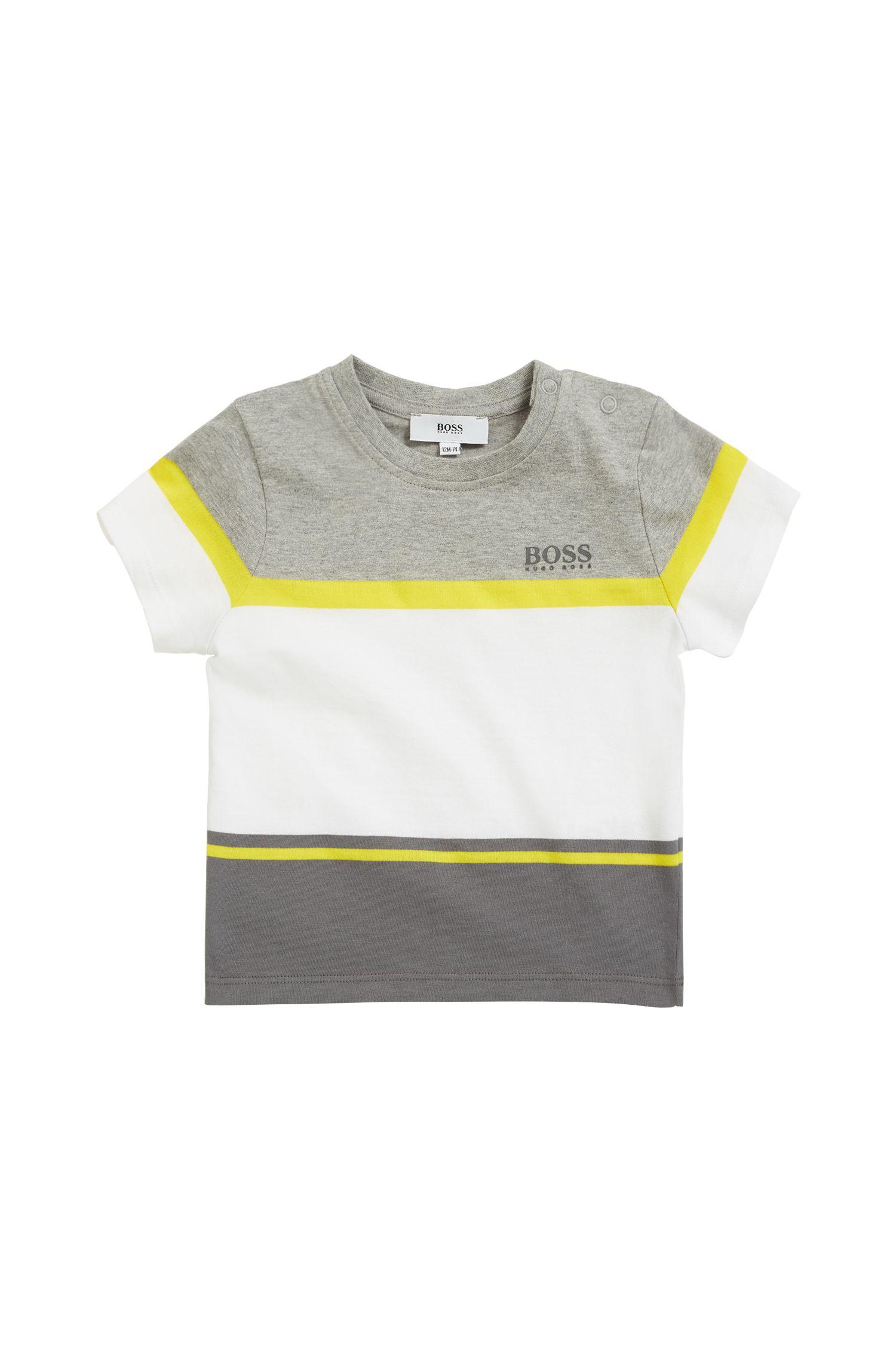Kinder-T-shirt in een jersey van een katoenmix met contraststrepen, Lichtgrijs