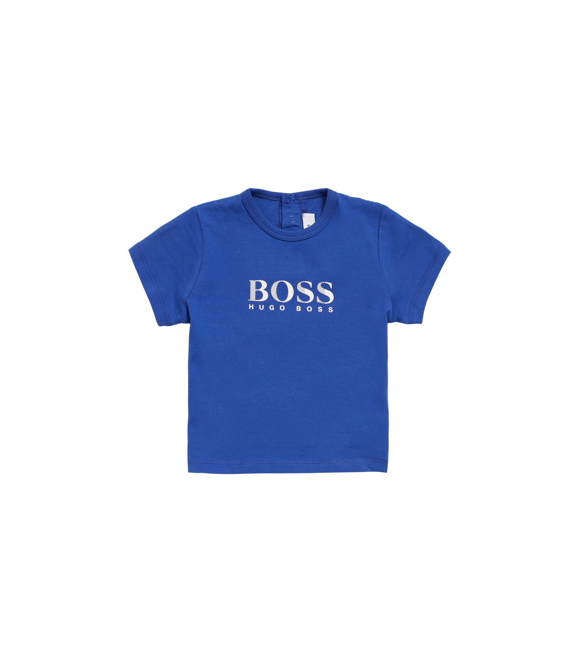 Kids-T-Shirt aus Single Jersey mit Logo-Print, Blau